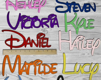 DISNEY Personalized Wooden Name Sign Custom Plaque Words / Letters Wall  Decor / Door / Laser