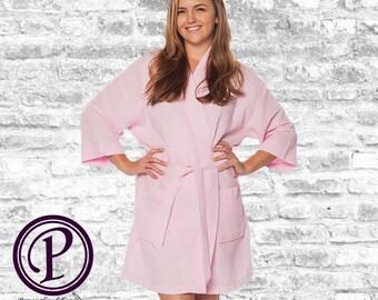Pink Waffle Kimono Bridesmaid Robe, Monogrammed Robe, Embroidered Robe, Wedding Day Robe, Bridesmaid Gifts, Bridal Robes, Spa Robes