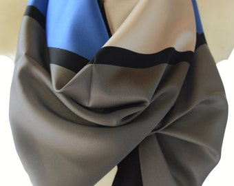 polyester scarf - neckerchief - blue scarf - shawl - grafic shawl - spring summer scarf - ladies scraves - infinity scarf - check scarf gift
