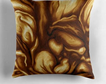 Pillowcase - Tan colors - decorative painting art print abstract yellow