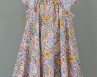 Girls summer swing dress,Girls summer twirly dress,Girls Easter dress,Ruffled dress,Flutter sleeves dress