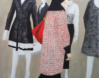 """Painting """"Shopping at Lotte""""Seoul"""