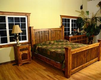 Rustic queen bed set, rustic headboard and foot board,rustic bedroom furniture