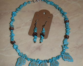Beaded Turquoise Leaf Necklace and Earring Set