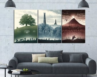 The Lord of The Rings Trilogy - 3 Piece Canvas Wall Art | Lord of The Rings Wall Art | Painting | Poster | Print | Mural | Decal | Artwork