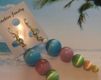 Handmade Glass Beaded Dangle Earrings with Cat's Eye Beads