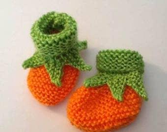 Newborn Baby Pumpkin Booties