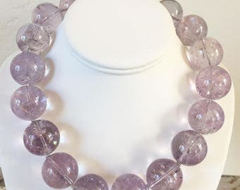 Lavender Amethyst 25mm Statement Necklace with Sterling Silver Clasp - Huge !