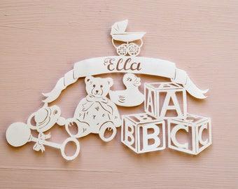 New Baby / Christening Personalised Handcut Papercut, Teddy Bear, Building Blocks, Toys, Pram, Handmade Gift