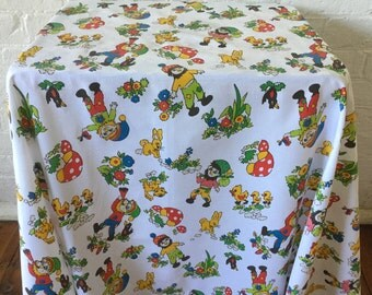 Vintage cot sheet Kids' fabric Elves and animals Large fabric piece 150 x 112cm Craft project