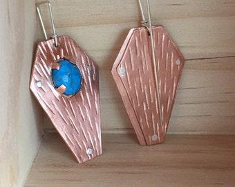Copper Coffin Earrings