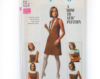 """Vintage 1960s Simplicity 8060 Mod A-Line Shift Dress with Collar Options Sewing Pattern Misses 12 Bust 34"""" Uncut"""