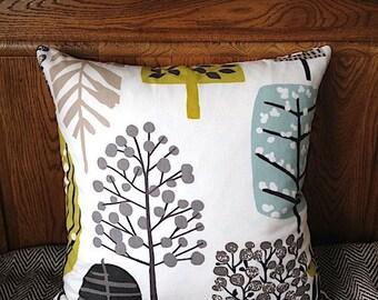 "Decorative Pillow Cover with Zip, 16''x16"" 18""x18"" Cushion Cover, Scandinavian Style Cushion, Clarke & Clarke, 100% Cotton, Zip Cushion"