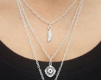 Owl tiered charm necklace