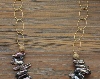 Shell Necklace, Gold Chain Necklace, Beaded Necklace
