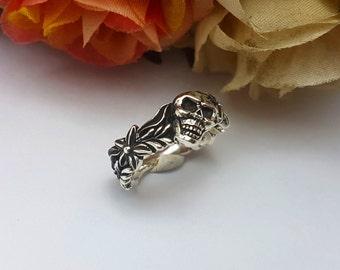 Women Skull flower ring, Silver Skull ring, women fashion skull silver,sterling silver,black
