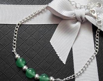Green Aventurine Sterling Silver Chain Bracelet
