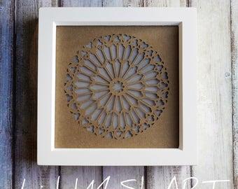 Notre Dame rose window Paper Cut Light Box 7.5:7.5 frame, 3D Wall Art, 3D Paper Wall Art, Paper Wall Art, Light up wall art