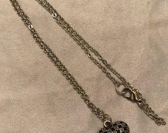Silver & black checkered heart pendant (chain included)