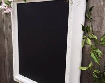Large Vintage White Ornate  Framed Magnetic Chalkboard