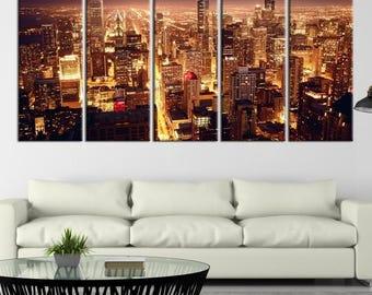 Chicago Skyline Wall Art chicago print art illustration poster skyline wall art