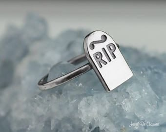 Sterling Silver RIP Tombstone Ring .925 Headstone Rings Custom Sizes