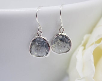 Earrings silver grey earrings genuine Silver 925