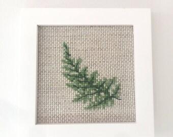 Green Leaf Cross Stitch pattern, modern cross stitch pattern