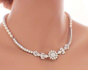 Pearl CZ necklace, pearl wedding necklace, pearl bridal jewelry, cubic zirconia necklace, bridal necklace, Swarovski pearl, wedding jewelry
