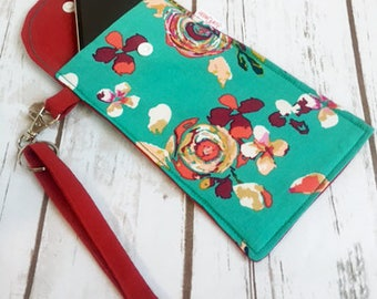Cell phone wristlet wallet, Smart phone wristlet wallet, cell phone bag, cell phone pouch, cell phone case