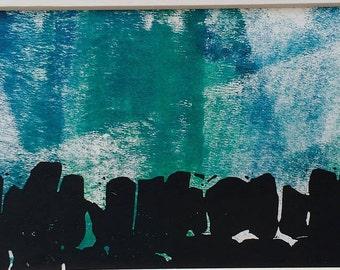 Sunshine from Stanegate, linocut, monoprint
