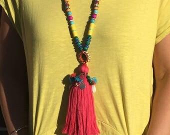 Strawberry Boho Long Tassel Necklace