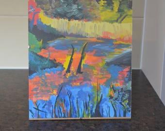Lake and nature Acrylic painting
