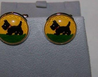 Pair  Vintage  Glass SCOTTIE DOG Cabochon Cuff Links  --  18mm -- Scottish Terrier --Yellow