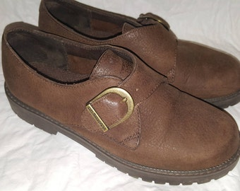 Brown Leather Bass Retro 1980s Womens Buckle Shoes