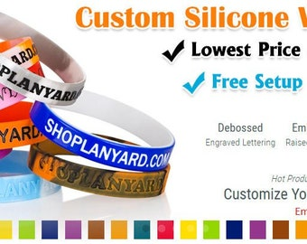 50 Pcs Custom Wristbands - Printed / Debossed / Embossed / Color Filled - Silicone Rubber Wristbands Bracelet Printed Bands FREE SHIPPING