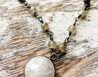 Labradorite Necklace, Pyrite Necklace, Moonstone Necklace, Sterling Silver Necklace