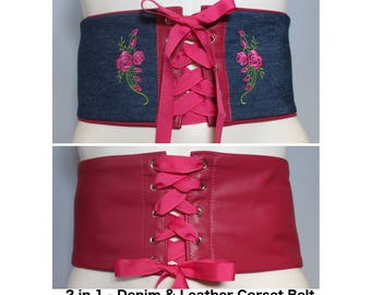 Pink Leather Corset Belt / Blue Denim Corset Belt with Custom Rose Embroidery – REVERSIBLE