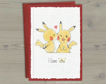 Pikachu Pokemon Valentines Anniversary Nerdy Geek Anime I Love Chu You Greeting Card