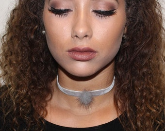 Grey Puff Ball Choker