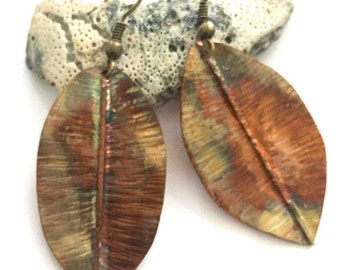 Texture Copper Leaf Earrings