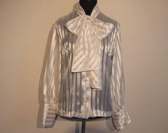Vintage 1970's Blouse; 70's Bow Blouse; White Blouse