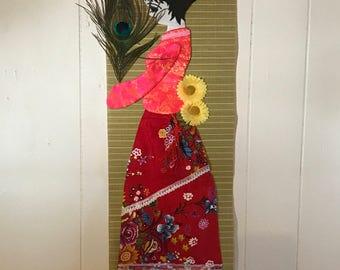 Asian 3D doll bamboo wall hanging