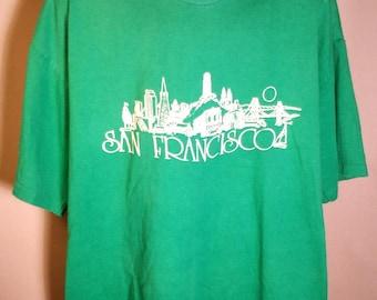 80s San Francisco CA California Green XL Soft Tee City Skyline Golden Gate Bridge Souvenir Tourist Crewneck Shirt Tar Heel Sports Made USA