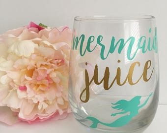 Mermaid juice wine glass- mermaid wine glass-funny wine glass- the little mermaid wine glass- stemless wine glass- ariel wine glass