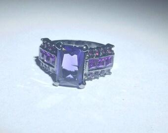 Cubic Zirconia Purple Gemstone Silver Ring Size 8