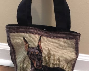 Doberman Pinscher Needlepoint Purse