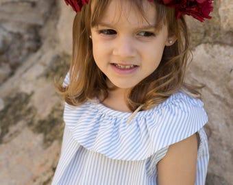 Girl Dress thousand Stripes Blue