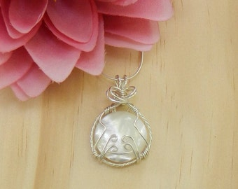 MOTHER OF PEARL Wire Wrapped Cabochon,Wire Wrapped Gemstone,Mother's Day Gift,Gemstone Healing, Gemstone jewelry