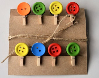 Cute decorative wooden button mini pegs, magnets / string